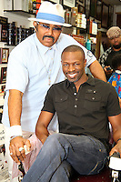 PHILADELPHIA, PA - AUGUST 19 :  Sean Patrick Thomas pictured with owner, Maxamillion A.J. Wells III at Maxamillion's Gentlemen's Quarters Barber Parlor for the Democratic Philadelphia voter registration launch in Philadelphia, Pa on August 19, 2016  photo credit Star Shooter/MediaPunch