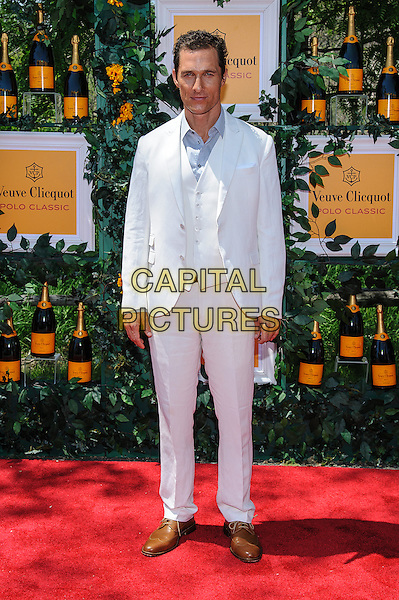 Matthew McConaughey<br /> 6th Annual Veuve Clicquot Polo Classic, Jersey City, New Jersey, USA, 1st June 2013.<br /> full length white linen suit blue shirt waistcoat <br /> CAP/ADM/MS<br /> &copy;Mario Santoro/AdMedia/Capital Pictures