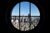 USA, California, San Francisco, an elevated view of downtown San Francisco as seen through a window in the Coit Tower, Telegraph Hill