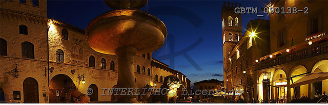 Tom Mackie, LANDSCAPES, panoramic, photos, Piazza del Comune at Night, Assisi, Umbria, Italy, GBTM090138-2,#L#
