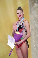 September 14, 2018 - Sofia, Bulgaria - ALEKSANDRA SOLDATOVA of Russia waves during AA awards ceremony at 2018 World Championships.