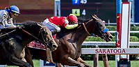 SARATOGA SPRINGS, NY - AUGUST 25: Abel Tasman  #1, ridden by jockey Mike Smith, wins the Personal Ensign Stakes on Travers Stakes Day at Saratoga Race Course on August 25, 2018 in Saratoga Springs, New York. (Photo by Rob Simmons/Eclipse Sportswire/Getty Images)