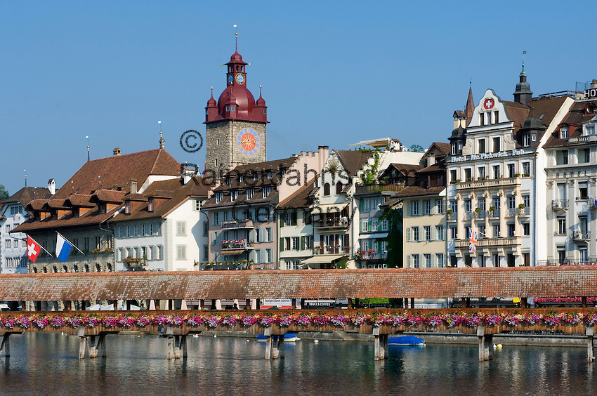 Switzerland, Canton Lucerne, City Lucerne at river Reuss: with Townhall and Chapel Bridge