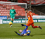 20.3.2018: Dundee Utd v Queen of the South<br /> Lyndon Dykes pulled down by Mark Durnan for a penalty