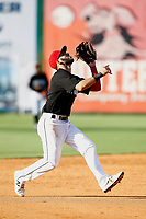Alex Perez (2) of the Chattanooga Lookouts prepares to catch a fly ball during the game against the Mobile BayBears on June 3, 2018 at AT&T Field in Chattanooga, Tennessee. (Andy Mitchell/Four Seam Images)