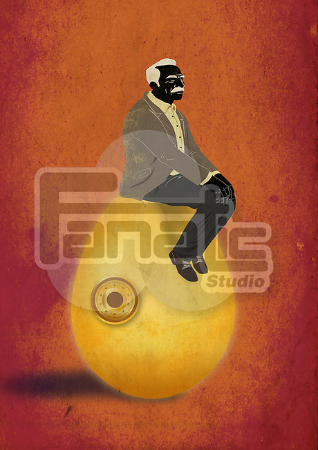 Illustrative concept of elderly man sitting on egg representing retirement fund