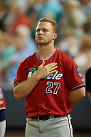 "Fort Myers Miracle Ryan Jeffers (27) during ""God Bless America"" in the seventh inning stretch of a Florida State League game against the Charlotte Stone Crabs on April 6, 2019 at Charlotte Sports Park in Port Charlotte, Florida.  Fort Myers defeated Charlotte 7-4.  (Mike Janes/Four Seam Images)"