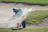 Stephan Jaeger (GER) hits from the trap on 14 during Round 1 of the Valero Texas Open, AT&amp;T Oaks Course, TPC San Antonio, San Antonio, Texas, USA. 4/19/2018.<br /> Picture: Golffile | Ken Murray<br /> <br /> <br /> All photo usage must carry mandatory copyright credit (&copy; Golffile | Ken Murray)