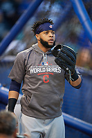 Cleveland Indians Carlos Santana (41) during practice before Game 3 of the Major League Baseball World Series against the Chicago Cubs on October 28, 2016 at Wrigley Field in Chicago, Illinois.  (Mike Janes/Four Seam Images)