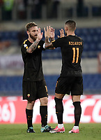 Calcio, Serie A: Roma, stadio Olimpico, 16 settembre 2017.<br /> Roma's captain Daniele De Rossi (l) and Aleksandar Kolarov (r) celebrate after winning 3-0 the Italian Serie A football match between AS Roma and Hellas Verona at Rome's Olympic stadium, September 16, 2017.<br /> UPDATE IMAGES PRESS/Isabella Bonotto