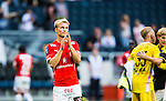 Solna 2014-07-12 Fotboll Allsvenskan AIK - Kalmar FF :  <br /> Kalmars Sebastian Andersson ser nedst&auml;md ut efter matchen<br /> (Foto: Kenta J&ouml;nsson) Nyckelord:  AIK Gnaget Friends Arena Kalmar KFF depp besviken besvikelse sorg ledsen deppig nedst&auml;md uppgiven sad disappointment disappointed dejected