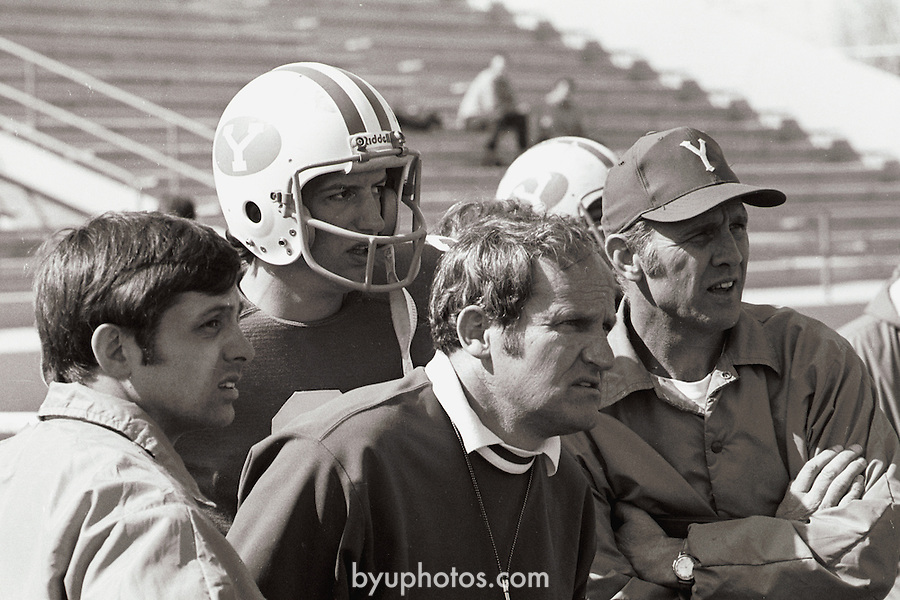 FTB 104 A-3<br /> <br /> BYU spring game.  Coach Garth Hall.  Coach Dave Kragthorpe.  Coach LaVell Edwards<br /> <br /> April 10, 1976<br /> <br /> Photo by Mark A. Philbrick/BYU<br /> <br /> &copy; BYU PHOTO 2009<br /> All Rights Reserved<br /> photo@byu.edu  (801)422-7322
