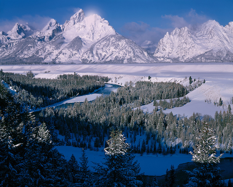 Morning light on the Snake River and the Teton Range; Grand Teton National Park, WY