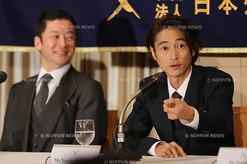 "January 12, 2017, Tokyo, Japan - Japanese cast of the U.S. movie ""Silence"" Yosuke Kubozuka (R) speaks before foreign journalists while Tadanobu Asano (L) looks on in Tokyo on Thursday, January 12, 2017. The movie ""Silence"", written by Japanese author Shusaku Endo and directed by Martin Scorsese of the United States, will be screening in Japan from January 21.   (Photo by Yoshio Tsunoda/AFLO) LWX -ytd-"