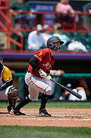 Altoona Curve Mitchell Tolman (19) at bat during an Eastern League game against the Erie SeaWolves and on June 4, 2019 at UPMC Park in Erie, Pennsylvania.  Altoona defeated Erie 3-0.  (Mike Janes/Four Seam Images)