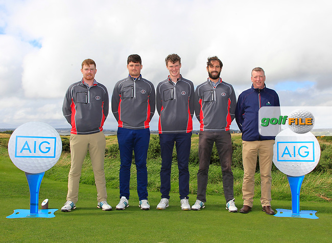 The County Sligo Team during the Connacht Final of the AIG Barton Shield at Galway Bay Golf Club, Galway, Co Galway. 11/08/2017<br /> <br /> Ruairi O'Connor, TJ Ford, David Brady, Mark Morrissey and Aidan Doyle.<br /> <br /> Picture: Golffile | Thos Caffrey<br /> <br /> <br /> All photo usage must carry mandatory copyright credit     (&copy; Golffile | Thos Caffrey)