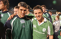 Matt Nelson and Harry McAleese celebrate after defeating Scotland in the U19 World Championship at Ravenhill.