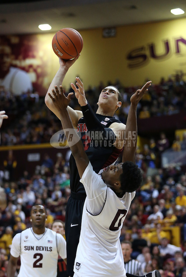 Feb. 9, 2013; Tempe, AZ, USA: Stanford Cardinal forward Dwight Powell (33) takes a shot over Arizona State Sun Devils guard Carrick Felix (0) in the second half at the Wells Fargo Arena. Stanford defeated Arizona State 62-59. Mandatory Credit: Mark J. Rebilas-