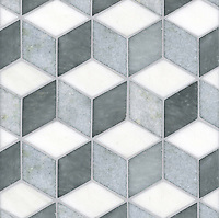 Euclid, a hand-cut mosaic shown in polished Dolomite, polished Celeste, and honed Allure, is part of the Illusions™ Collection by Sara Baldwin Designs for New Ravenna.