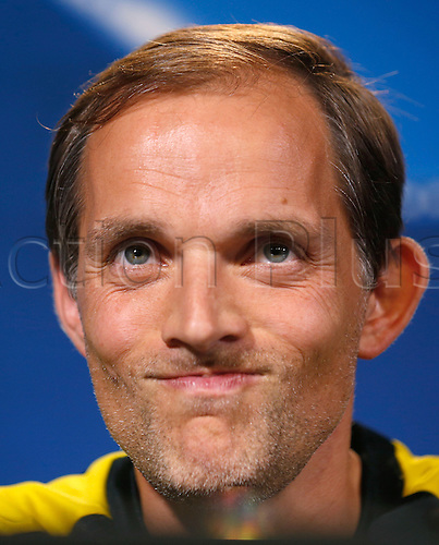 26.09.2016. Dortmund, Germany.  Coach Thomas Tuchel from Borussia Dortmund answers journalists' questions in Dortmund, Germany, 26 September 2016. Dortmund plays in Champions League versus Real Madrid on 27 September 2016.
