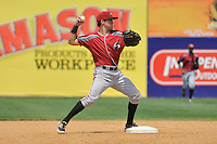 Second basemen Drew Maggi (7) of the Altoona Curve throws to first base during a game against the New Britain Rock Cats at New Britain Stadium on June 25, 2014 in New Britain, Connecticut.  New Britain defeated Altoona 3-1.  (Gregory Vasil/Four Seam Images)