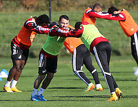 Pictured: Leon Britton back on training Wednesday 05 November 2014<br /> Re: Swansea City FC players training at Fairwood training ground, ahead of their Premier League game against Arsenal on Sunday.