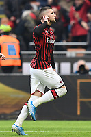 Ante Rebic of AC Milan celebrates after scoring the goal of dedfinitive 3-2 <br /> Milano 19/01/2020 Stadio Giuseppe Meazza <br /> Football Serie A 2019/2020 <br /> AC Milan - Udinese Calcio <br /> Photo Image Sport / Insidefoto