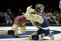 STATE COLLEGE, PA - JANUARY 25: Chris Dardanes of the Minnesota Golden Gophers and Jimmy Gulibon of the Penn State Nittany Lions during their match on January 25, 2015 at Recreation Hall on the campus of Penn State University in State College, Pennsylvania. Minnesota won 17-16. (Photo by Hunter Martin/Getty Images) *** Local Caption *** Chris Dardanes;Jimmy Gulibon