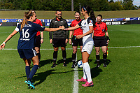 Sarah Killion #16 of Sky Blue FC shakes hands with Abby Erceg #6 of the North Carolina Courage during the coin toss during National Women's Soccer League match between Sky Blue FC and the North Carolina Courage at Yurcak Field in Piscataway, NJ on  Saturday September 07, 2019