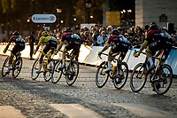Peloton with team Ineos and yellow jersey Egan Bernal (COL/ineos) riding the Champs-Elysée cobbles.<br /> <br /> Stage 21: Rambouillet to Paris (128km)<br /> 106th Tour de France 2019 (2.UWT)<br /> <br /> ©kramon