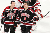 Melissa Haganey (NU - 19), Christina Zalewski (NU - 11) - The Boston College Eagles defeated the Northeastern University Huskies 5-1 (EN) in their NCAA Quarterfinal on Saturday, March 12, 2016, at Kelley Rink in Conte Forum in Boston, Massachusetts.