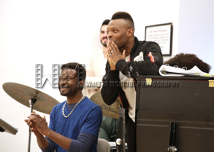 """Yamin Mustafa and Ricky Tripp During the Open Rehearsal for the Miami New Drama's World Premiere Musical  """"A Wonderful World"""" at the Ripley-Grier Studios on January 26, 2020 in New York City."""