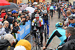 Italian Champion Elia Viviani (ITA) Deceuninck-Quick Step arrives at sign on before a wet Stage 2 of the 2019 Giro d'Italia, running 205km from Bologna to Fucecchio, Italy. 12th May 2019<br /> Picture: Gian Mattia D'Alberto/LaPresse | Cyclefile<br /> <br /> All photos usage must carry mandatory copyright credit (© Cyclefile | Gian Mattia D'Alberto/LaPresse)