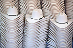Stacks of cowboy hats on display during the Calgary Stampede, Calgary, Alberta, Canada