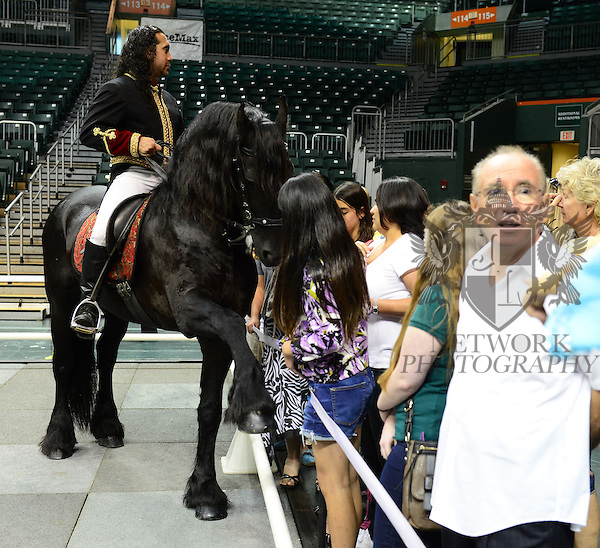 "CORAL GABLES, FL - APRIL 27: Rene Gasser's Rides ""Gala of the Royal Horses""  Into North America for the First Time Ever in 2014 at BankUnited Center which include Gala of the Royal Horses, Lipizzaner's With the Stars, Equestra and El Caballo Blanco on April 27, 2014 in Coral Gables, Florida.  (Photo by Johnny Louis/jlnphotography.com)"
