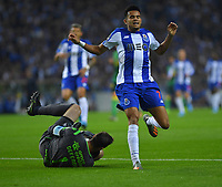 27th October 2019; Dragao Stadium, Porto, Portugal; Portuguese Championship 2019/2020, FC Porto versus Famalicao; Luis Díaz of FC Porto sees goalkeeper Rafael Defendi of Famalicao safely collect the ball