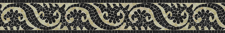 "6"" Suzani border, a hand-cut jewel glass mosaic, shown in Obsidian and Quartz."