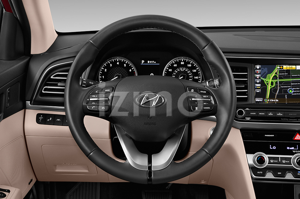 Car pictures of steering wheel view of a 2020 Hyundai Elantra Limited 4 Door Sedan Steering Wheel