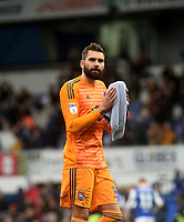 Ipswich Town's Bartosz Bialkowski applauds the fans at the final whistle <br /> <br /> Photographer Hannah Fountain/CameraSport<br /> <br /> The EFL Sky Bet Championship - Ipswich Town v Nottingham Forest - Saturday 16th March 2019 - Portman Road - Ipswich<br /> <br /> World Copyright &copy; 2019 CameraSport. All rights reserved. 43 Linden Ave. Countesthorpe. Leicester. England. LE8 5PG - Tel: +44 (0) 116 277 4147 - admin@camerasport.com - www.camerasport.com