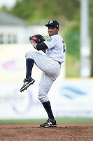 Pulaski Yankees starting pitcher Rafael Lara (12) in action against the Elizabethton Twins at Calfee Park on July 25, 2016 in Pulaski, Virginia.  The Twins defeated the Yankees 6-1.  (Brian Westerholt/Four Seam Images)