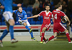 St Johnstone v Aberdeen.....07.12.13    SPFL<br /> Stevie May's shot at goal is blocked by Russell Anderson's arm<br /> Picture by Graeme Hart.<br /> Copyright Perthshire Picture Agency<br /> Tel: 01738 623350  Mobile: 07990 594431