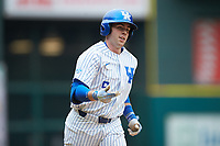 T.J. Collett (5) of the Kentucky Wildcats rounds the bases after hitting a home run against the Sam Houston State Bearkats during game four of the 2018 Shriners Hospitals for Children College Classic at Minute Maid Park on March 3, 2018 in Houston, Texas. The Wildcats defeated the Bearkats 7-2.  (Brian Westerholt/Four Seam Images)