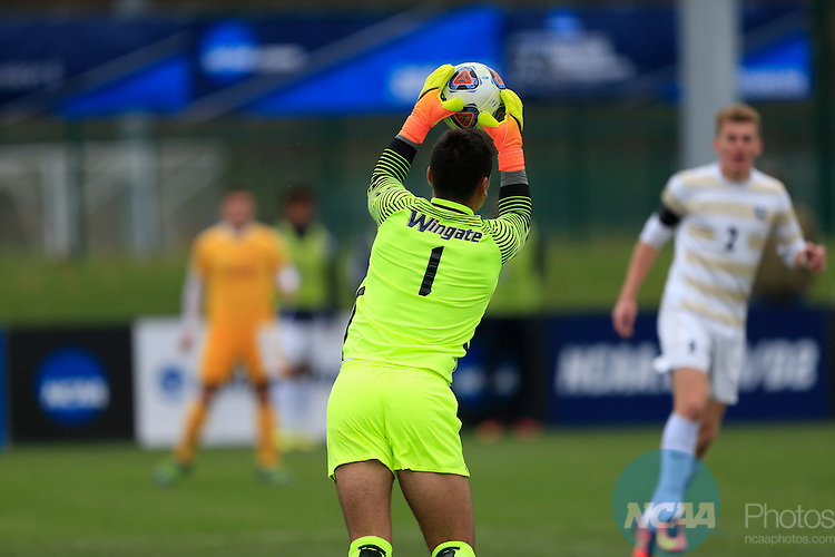 KANSAS CITY, MO - DECEMBER 03:  Goalie Pablo Sara (1) of Wingate University makes a save against the University of Charleston during the Division II Men's Soccer Championship held at Children's Mercy Victory Field at Swope Soccer Village on December 03, 2016 in Kansas City, Missouri. Wingate beat Charleston 2-0 to win the National Championship. (Photo by Jack Dempsey/NCAA Photos via Getty Images)