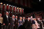 Curtain Call The Best Man cast: James Earl Jones, John Larroquette, Candice Bergen, Eric McCormack, Kerry Butler, Jefferson Mays, Michael McKean and Angela Lansbury at The opening Night of Broadway's Gore Vidal's The Best Man on April 1, 2012 at the Gerald Schoenfeld Theatre, New York City, New York. (Photo by Sue Coflin/Max Photos)