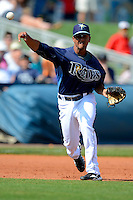 Tampa Bay Rays third baseman Cole Figueroa #87 during a Grapefruit League Spring Training game against the Boston Red Sox at Charlotte County Sports Park on February 25, 2013 in Port Charlotte, Florida.  Tampa Bay defeated Boston 6-3.  (Mike Janes/Four Seam Images)