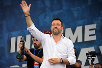 Italian center-right leader Matteo Salvini (Lega Nord) during the demonstration of the center-right parties at Piazza del Popolo, Together for the Italy of work. Rome (Italy), July 4th 2020<br /> Foto Insidefoto