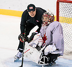 PyeongChang 8/3/2018 - Goaltending consultant Zac Bierk and Dominic Larocque, of Quebec City, QC, as Canada's sledge hockey team practices ahead of the start of competition at the Gangneung practice venue during the 2018 Winter Paralympic Games in Pyeongchang, Korea. Photo: Dave Holland/Canadian Paralympic Committee