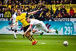 11.05.2019, Signal Iduna Park, Dortmund, GER, 1.FBL, Borussia Dortmund vs Fortuna Düsseldorf, DFL REGULATIONS PROHIBIT ANY USE OF PHOTOGRAPHS AS IMAGE SEQUENCES AND/OR QUASI-VIDEO<br /> <br /> im Bild | picture shows:<br /> Zweikampf zwischen Thomas Delaney (Borussia Dortmund #6) und Oliver Fink (Fortuna #7), <br /> <br /> Foto © nordphoto / Rauch