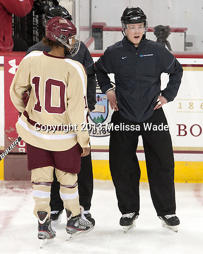 Blake Bolden (BC - 10), Cameron Lynch - The Boston College Eagles defeated the visiting Harvard University Crimson 3-1 in their NCAA quarterfinal matchup on Saturday, March 16, 2013, at Kelley Rink in Conte Forum in Chestnut Hill, Massachusetts.