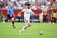 Landover, MD - August 4, 2018: Real Madrid midfielder Marco Asensio (20) with the ball during the match between Juventus and Real Madrid at FedEx Field in Landover, MD.   (Photo by Phillip Peters/Media Images International)